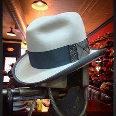 f15389c8 A bone Beaver fur felt. lords Homburg. A slate OBI bow and slate binding. Mens  Dress HatsMen ...