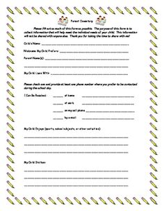 This parent inventory form is a great way for parents to share information that they would like you to know about their child!  The form includes a spot for child nicknames and preferred contact information (phone, email, etc.).  It asks for the child's likes, dislikes, academic strengths, academic weaknesses (things we are working on at home), and a spot for other concerns.