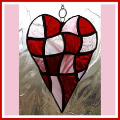 £12   Patchwork Love Heart Stained Glass Suncatcher Red Pink for Valentine Mothers Day