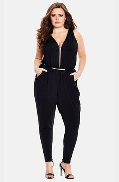 5ee91660a16 City Chic  Zipped Up  V-Neck Jumpsuit (Plus Size) available at  Nordstrom