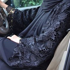 Fancy Lace Embroidered Abaya Designs Latest Collection consists of stylish & trendy abayas in casual, formal, fishtail styles, front open gowns, Hijab Fashion 2016, Abaya Fashion, Modest Fashion, Fashion Outfits, Womens Fashion, Muslim Dress, Hijab Dress, Islamic Fashion, Muslim Fashion