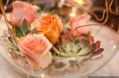 Peach toned garden roses, succulents and curly willow in a modern centerpiece by Butterfly Petals