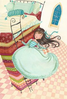 Erica Jane Waters Illustration - erica jane waters, fiction, commercial, paint, painted, acrylic, picture book, picturebook, princesses, fairy tales, fairytales, princess and the pea, bed