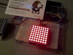 Adafruit 8x8 LED matrix controlled by BeagleBone Black