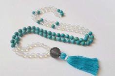 Yoga 108 Beads Mala Gemstone Mala necklace Hand by DHANAjewelry