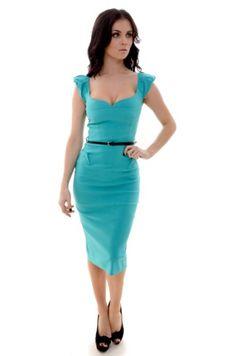 Aqua Valentina Sweetheart Pencil Dress