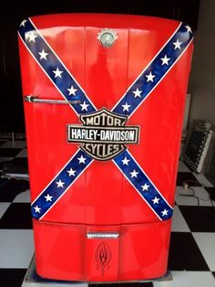 harley davidson refriderators | Vintage fridge with harley davidson airbrushed paintjob
