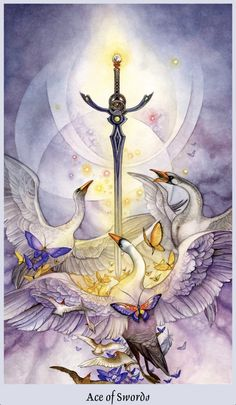 "Daily Angel Oracle Card: Ace Of Swords, from the Shadowscapes Tarot, by Stephanie Pui-Mun Law, artwork by Barbara Moore Ace Of Swords: ""A sword is double edged. It can slice with the swift as…"