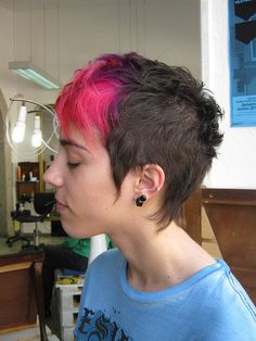 haircut with red and purple color    by wip-hairport, via Flickr