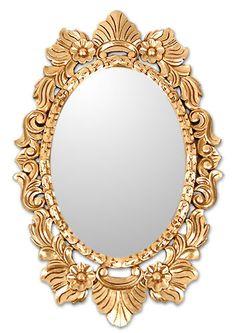 "Golden Wreath~~Handmade Ornate Bronze Leaf Oval Wall Mirror 34x22""~~Novica"