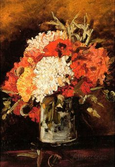 vase with carnations 2 Vincent van Gogh art for sale at Toperfect gallery. Buy the vase with carnations 2 Vincent van Gogh oil painting in Factory Price. Vincent Van Gogh, Flores Van Gogh, Flower Prints, Flower Art, Floral Flowers, Van Gogh Flowers, Van Gogh Arte, Van Gogh Paintings, Floral Paintings