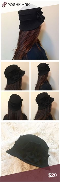 """🌺 Designer Flower Winter Hat 🌺 Worn, but in great shape! 100% wool. Fits a size small/medium/standard size head. 22"""" in circumference. Made in Germany. Medici Accessories Hats"""