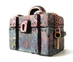 Raku Ceramic And Pottery Treasure Chest Jewelry Box - Copper Metallic Covered…