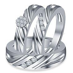 Unisex 0.64 CT Brilliant Round Cut Diamond Flower Style Trio Engagement Ring Set #WeddingEngagementAnniversaryBrithdayPartyGift
