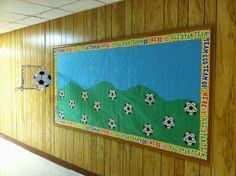 Soccer Goals bulletin board with hanging goal and ball. Soccer balls have school subjects with several specific topics on each (ie: English - parts of speech, writing, etc.)
