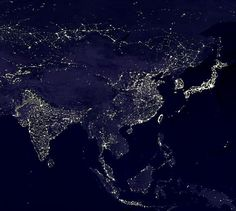 High city densities in eastern China Indonesia India and the eastern coast of Australia can clearly be seen. Earth And Space, Satellite Photos Of Earth, Cosmos, Earth At Night, Aesthetic Photography Nature, Natural Phenomena, Aerial Photography, City Lights, Aerial View