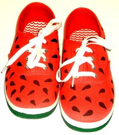 8cfe1fd2e02 Hand Painted Watermelon Shoes Lace Up Sneakers Women Canvas Women s Sneakers