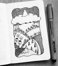 Dave Garbot Nature Sketch, Nature Drawing, Ink Pen Drawings, Cute Drawings, Doodle Sketch, Doodle Art, Mini Doodle, Watercolor Sketchbook, Sketchbook Inspiration