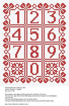 Design: Quaker Numbers Sampler Size: 62w x 79h Designer: Kell Smurthwaite…