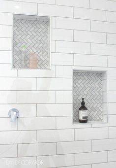 7 Unique Bathroom Tiles Ideas (Show Your Personality!) 2019 Weve assembled a list of functional yet stylish bathroom tiles ideas to help inspire you. The post 7 Unique Bathroom Tiles Ideas (Show Your Personality!) 2019 appeared first on Shower Diy. Tile Shower Niche, Subway Tile Showers, Bathroom Niche, Granite Bathroom, White Bathroom, Bathroom Ideas, Master Bathroom, Tiled Showers, Shower Ideas