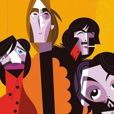 Pablo Lobato - The Beatles Beatles Art, The Beatles, Arte Pink Floyd, Arte Pop, Art And Illustration, Funny Art, Rock Art, Vector Art, Illustrators