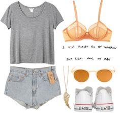 """DAY WEAR - DENIM, ORANGE AND GREY."" by pretty-basic ❤ liked on Polyvore"