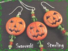 "Jack O Lantern Pumpkin Sterling Silver 20"" Chain Necklace & Earrings - Limited Edition Green ONLY 4 Sets - Swarovski Crystals FREE SHIPPING by FindMeTreasures on Etsy"