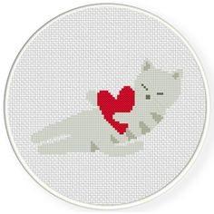 FREE for August 29th 2015 Only - Sleep Kitty Love Cross Stitch Pattern