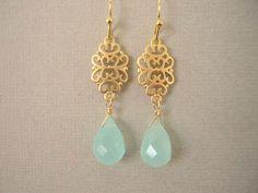 Aqua Chalcedony and Gold Filigree Earrings Mint by JulianaWJewelry, $32.00