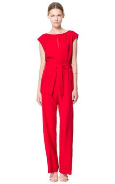 FLOWING JUMPSUIT WITH BELT - Jumpsuits - Woman - ZARA United States .. definitely buying this one!