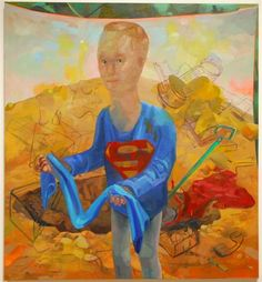 Dana Schutz, 'Missing Link Finds Superman,' 2006, Oil on canvas, 66 by 60 inches