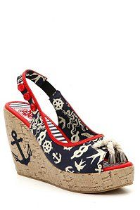 Sailor Anchor Wedge Shoes by Too Fast @ Hot Topic Nautical Shoes, Nautical Fashion, Nautical Theme, Nautical Clothing, Nautical Style, Nautical Anchor, Cute Shoes, Me Too Shoes, Shoes