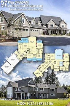 Architectural Designs Craftsman House Plan 69665AM 5+ BR   5.5+ BA   6,300+ Sq.Ft.   Ready when you are. Where do YOU want to build? #69665AM #adhouseplans #architecturaldesigns #houseplan #architecture #newhome #newconstruction #newhouse #homedesign #dreamhome #dreamhouse #homeplan #architecture #architect