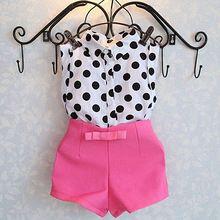 2 unids Ropa Del Bebé de La Muchacha Del Cabrito Del Niño Polka Dot camiseta Tops Rosa Pantalones Cortos