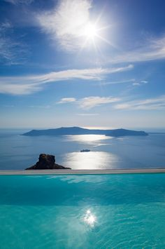 Imerovigli view of Skaros Rock & Thirassia Island, Santorini, Greece
