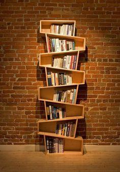 Switchback bookcase - 60 Creative Bookshelf Ideas  <3 <3