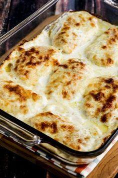 Cheesy Creamy Low-Carb Chicken Cordon Bleu Bake found on KalynsKitchen.com