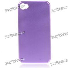Stylish Protective Aluminum Alloy Back Case for Iphone 4 - Purple