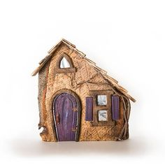 Each Fairy House is hand made and one of a kind. Fairy Houses are decorative facades and doors are ornamental and non functioning. Purple Door, Window Shutters, Fairy Doors, Fairy Houses, Deep Purple, Container Gardening, Facade, Home And Garden, Bird
