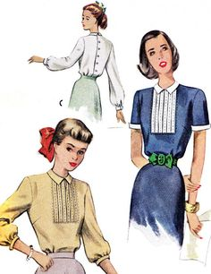 1940s Blouse Pattern McCall 7334 Womens Back Button by paneenjerez, $16.00