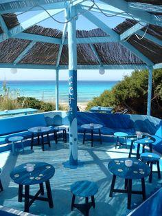 I've yet to visit Ibiza: Blue Bar Formentera Formentera Spain, London Location, Blue Bar, Spain Holidays, Beach Bars, Menorca, Filming Locations, Beach Hotels, Spain Travel