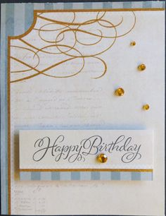 This is a handmade card with a sentiment stamped on the front of the card with embellishments and the inside of the card is blank.