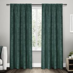 Exclusive Home Elle Heavyweight Floral Scroll Chenille Jacquard  Rod Pocket Window Curtain Panel Pair, Teal, 52'x 84' * For more information, visit image link. (This is an affiliate link) #WindowTreatments