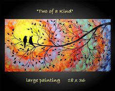 Large Abstract Bird in Tree Painting Fantasy Silhouette Vivid Colorful Modern Contemporary 18x36 JMichael