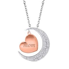 Silver Moon and Back Mom Diamond Necklace from Steven Singer Jewelers - Perfect gift for every mom in your life!