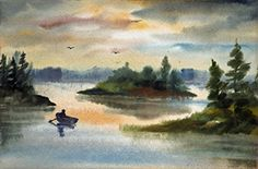 Title: Hen Cove in Harpswell, Maine by artist, Alicia J. Stonebreaker  Watercolor  13x19 giclee print $58.00