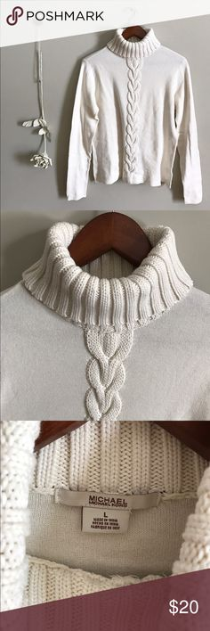 💕Host Pick💕Michael Kors turtleneck White turtleneck sweater by Michael Kors. Turtle neck part and a strip down the front middle is a different stitch than the rest of the sweater. Very cute and soft. Perfect for a winter outing. Sweater is made of 100% cotton material and is in excellent condition. Size large Michael Kors Sweaters Cowl & Turtlenecks