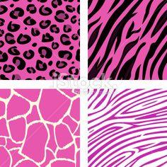 pink animal leopard tiger zebra and giraffe print pattern background