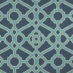 Fretwork Indigo fabric