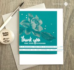 Pearly, metallic-like floral thank you card featuring Garden Treasure stamp set. www.altenew.com